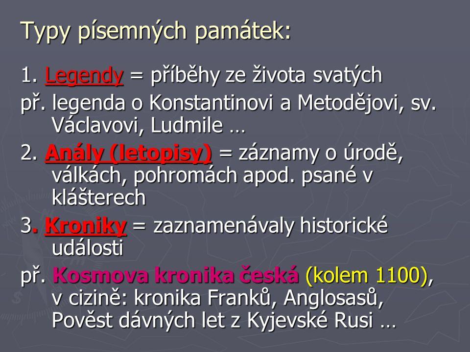 Typy písemných památek: