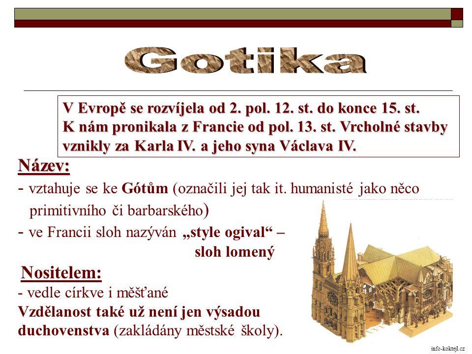 Gotika V Evropě se rozvíjela od 2. pol. 12. st. do konce 15. st. K nám pronikala z Francie od pol. 13. st. Vrcholné stavby.