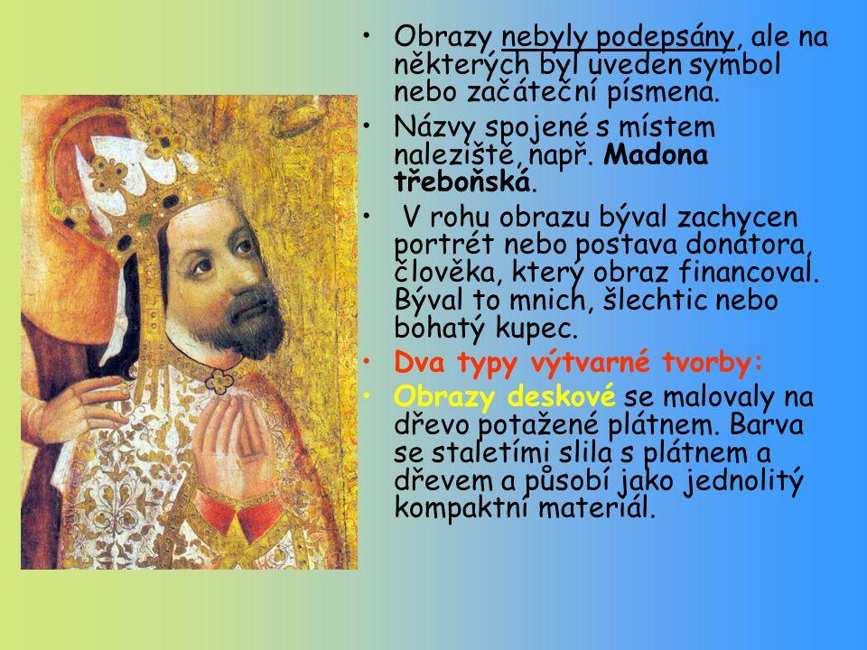 Obrazy nebyly podepsány, ale na některých byl uveden symbol nebo začáteční písmena.