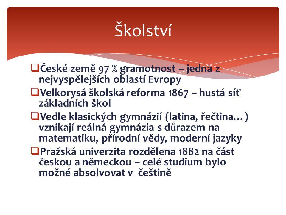 Školství České země 97 % gramotnost – jedna z nejvyspělejších oblastí Evropy. Velkorysá školská reforma 1867 – hustá síť základních škol.