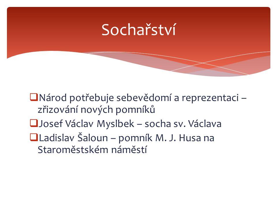 Sochařství Národ potřebuje sebevědomí a reprezentaci – zřizování nových pomníků. Josef Václav Myslbek – socha sv. Václava.