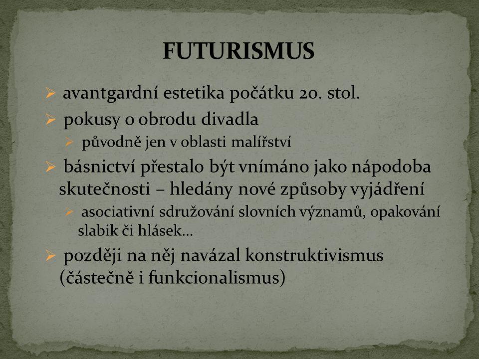 FUTURISMUS avantgardní estetika počátku 20. stol.