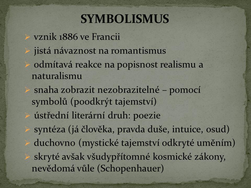 SYMBOLISMUS vznik 1886 ve Francii jistá návaznost na romantismus