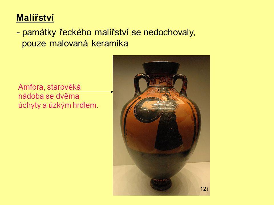 - památky řeckého malířství se nedochovaly, pouze malovaná keramika