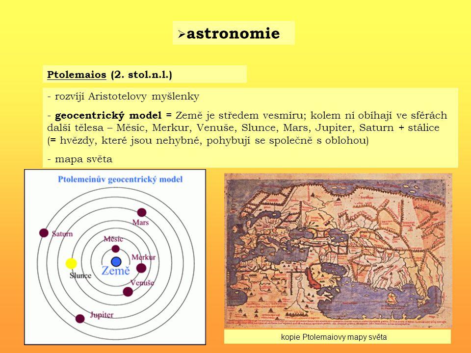 astronomie Ptolemaios (2. stol.n.l.) rozvíjí Aristotelovy myšlenky