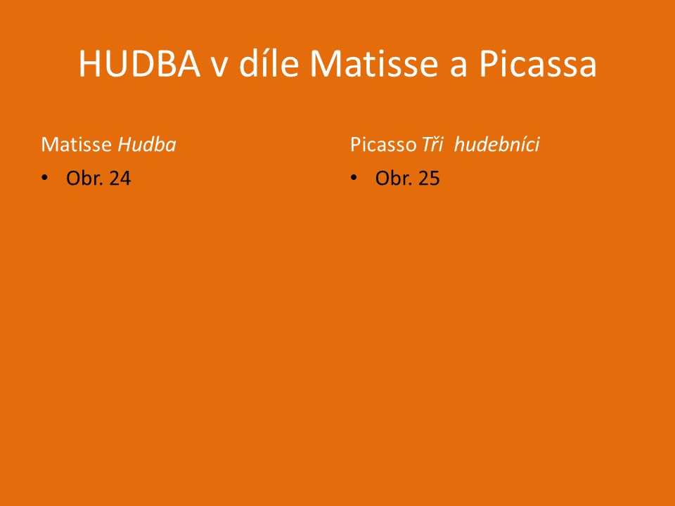 HUDBA v díle Matisse a Picassa