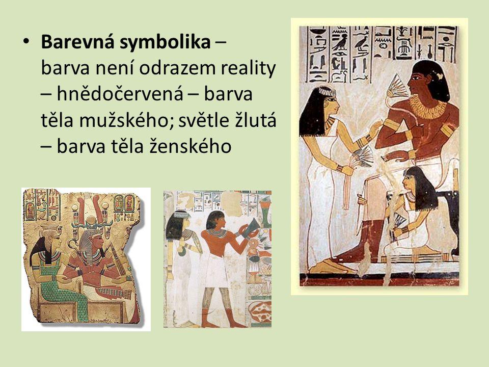 Barevná symbolika – barva není odrazem reality – hnědočervená – barva těla mužského; světle žlutá – barva těla ženského