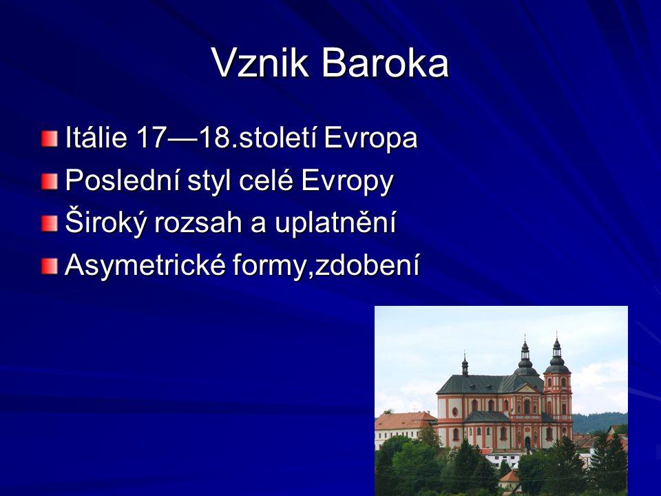 Vznik Baroka Itálie 17—18.století Evropa Poslední styl celé Evropy