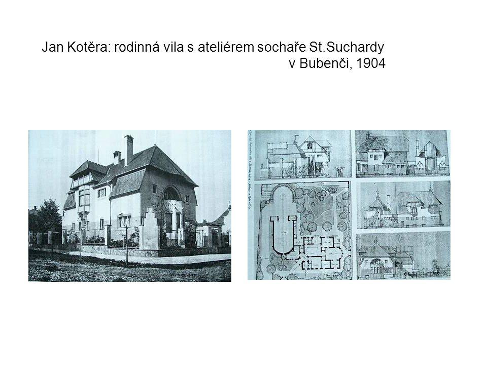 Jan Kotěra: rodinná vila s ateliérem sochaře St. Suchardy