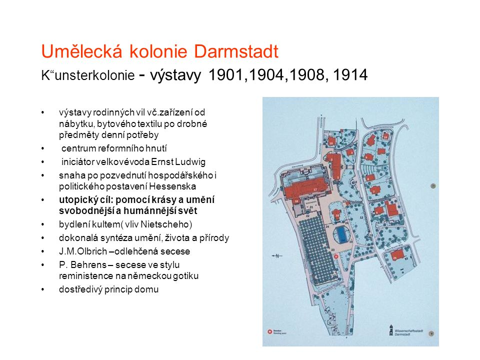 Umělecká kolonie Darmstadt K unsterkolonie - výstavy 1901,1904,1908, 1914