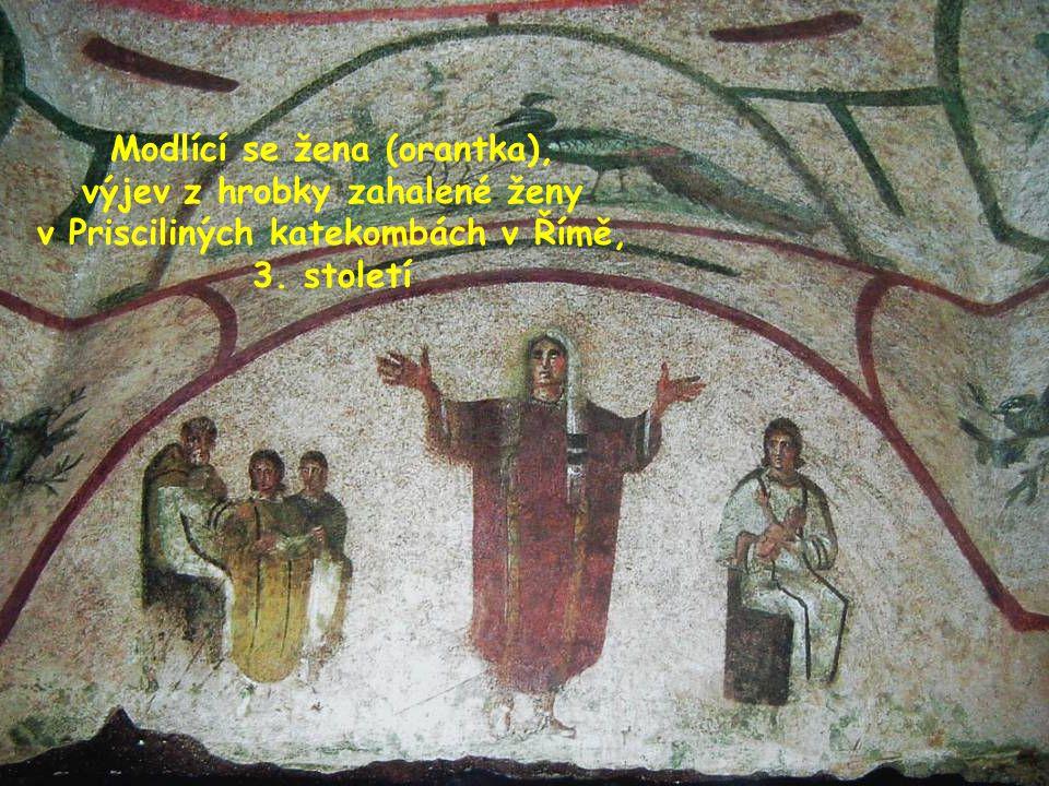 Modlící se žena (orantka), výjev z hrobky zahalené ženy v Prisciliných katekombách v Římě, 3.
