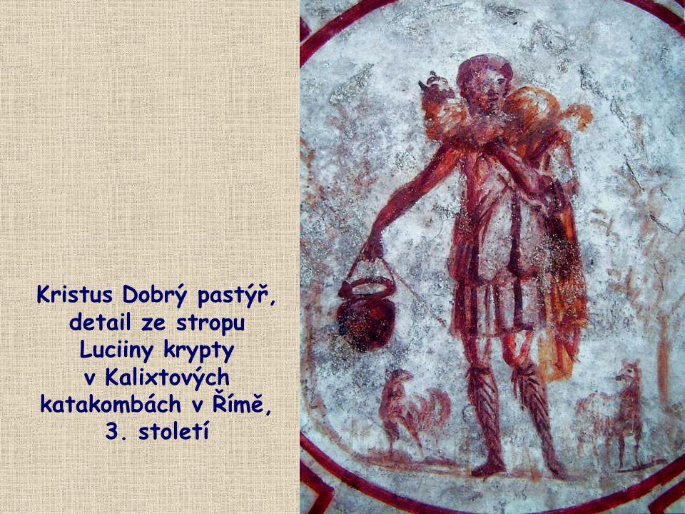 Kristus Dobrý pastýř, detail ze stropu Luciiny krypty v Kalixtových katakombách v Římě, 3. století