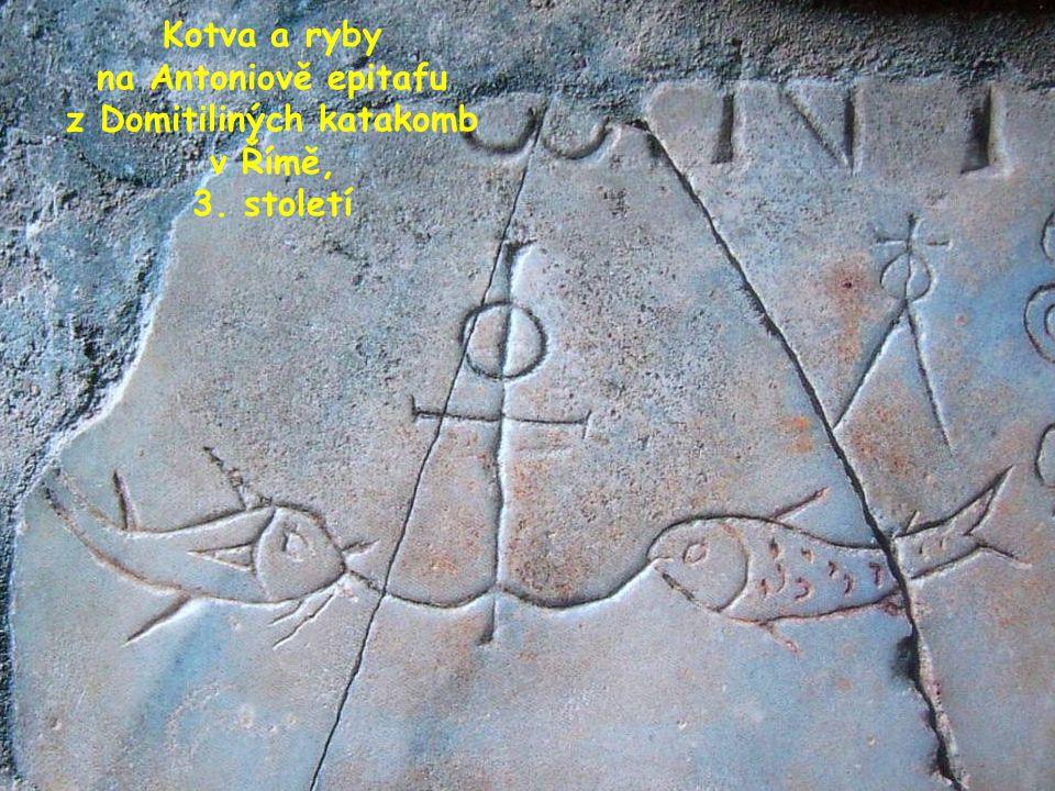 Kotva a ryby na Antoniově epitafu z Domitiliných katakomb v Římě, 3