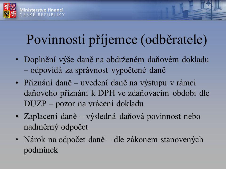 Povinnosti příjemce (odběratele)