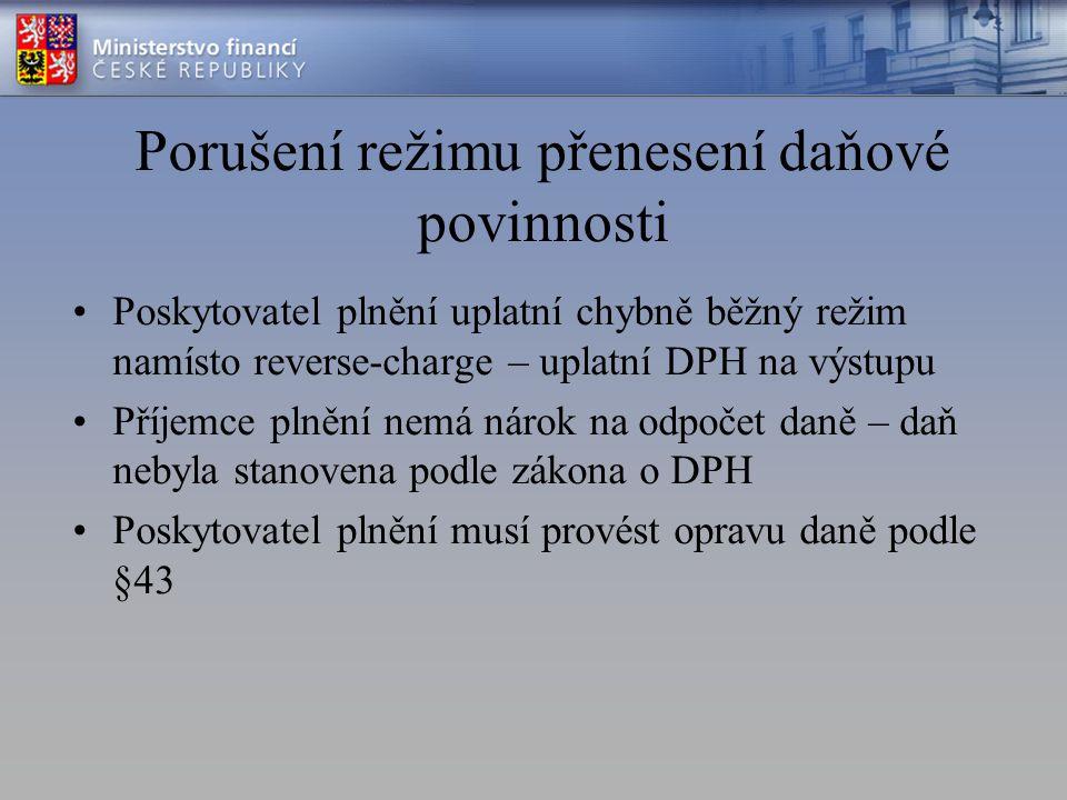 Porušení režimu přenesení daňové povinnosti