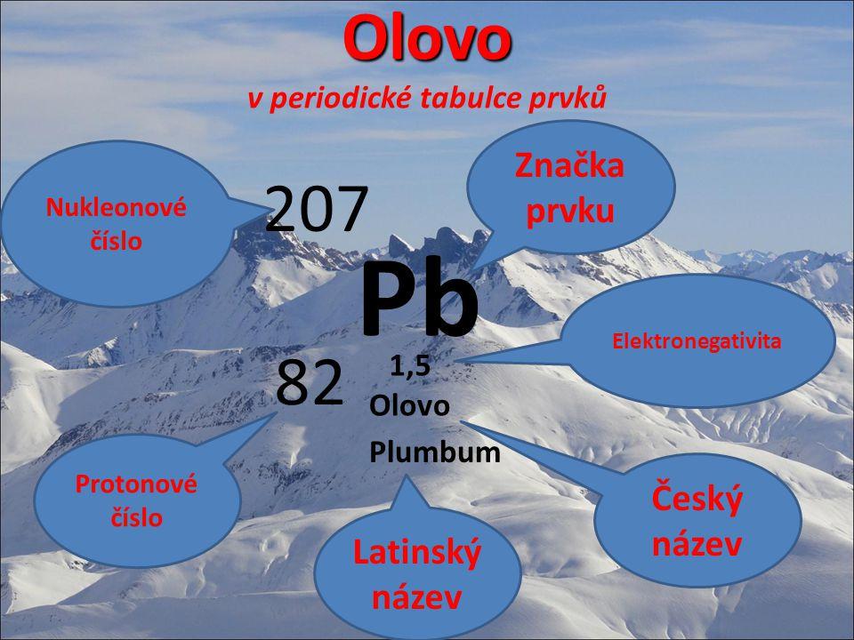 Olovo v periodické tabulce prvků