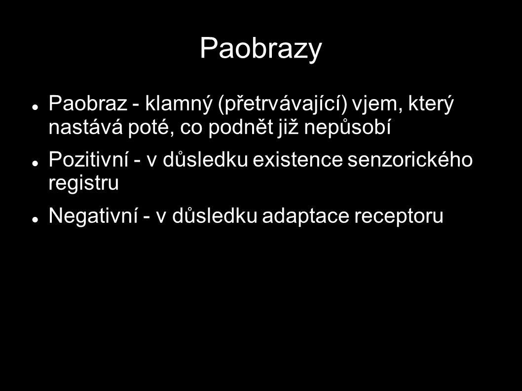 Paobrazy Paobraz - klamný (přetrvávající) vjem, který nastává poté, co podnět již nepůsobí. Pozitivní - v důsledku existence senzorického registru.