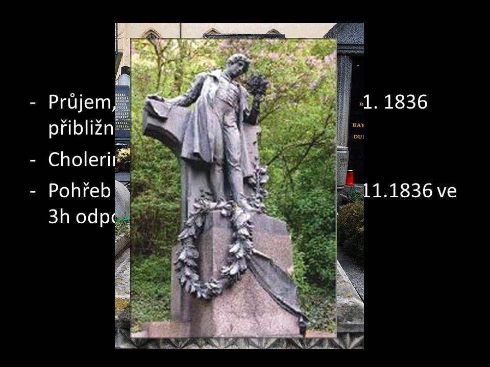 Smrt Průjem, zvracení, žádné léky  6.11. 1836 přibližně ve tři hodiny smrt. Cholerina (mírnější forma cholery)