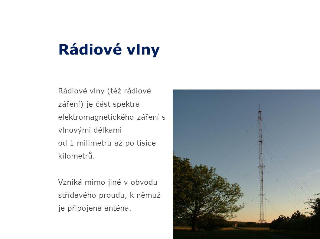 Rádiové vlny Rádiové vlny (též rádiové záření) je část spektra elektromagnetického záření s vlnovými délkami.