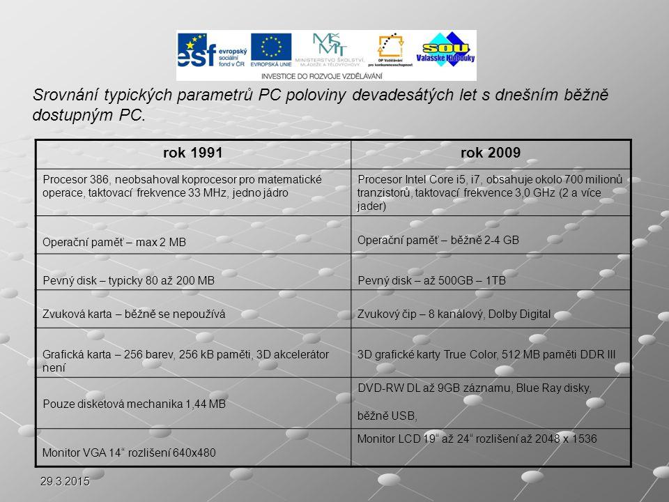 Srovnání typických parametrů PC poloviny devadesátých let s dnešním běžně dostupným PC.