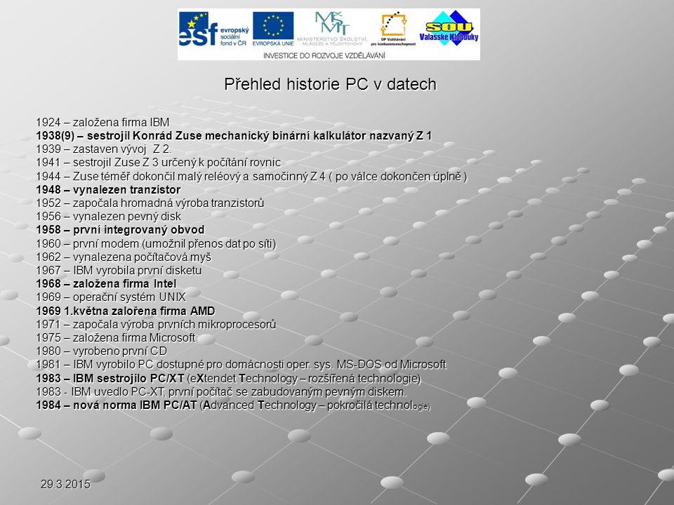 Přehled historie PC v datech