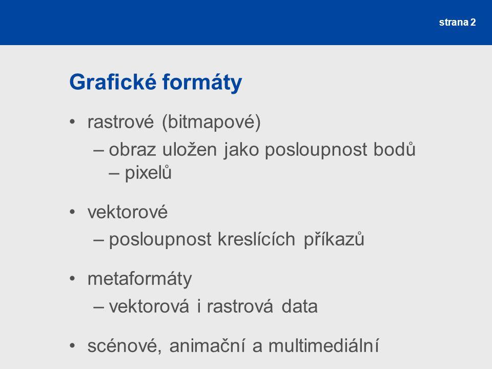 Grafické formáty rastrové (bitmapové)