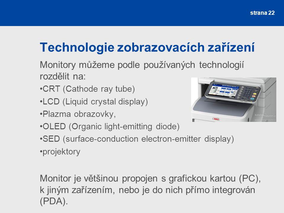 Technologie zobrazovacích zařízení