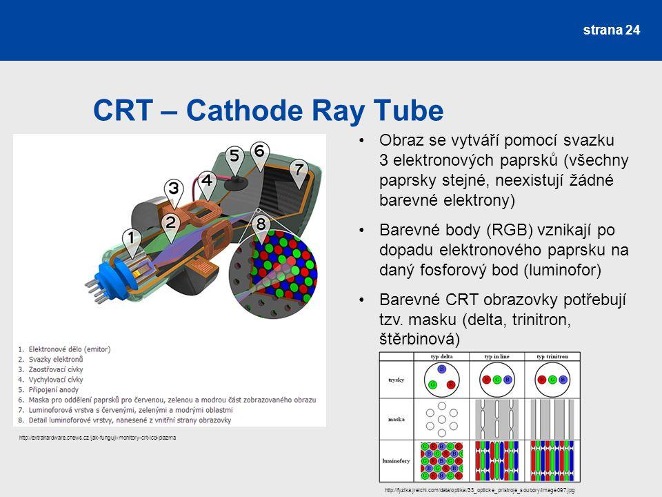 CRT – Cathode Ray Tube Obraz se vytváří pomocí svazku 3 elektronových paprsků (všechny paprsky stejné, neexistují žádné barevné elektrony)