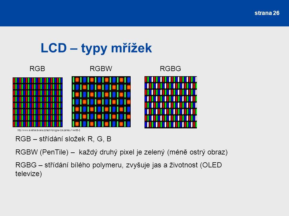 LCD – typy mřížek RGB RGBW RGBG RGB – střídání složek R, G, B