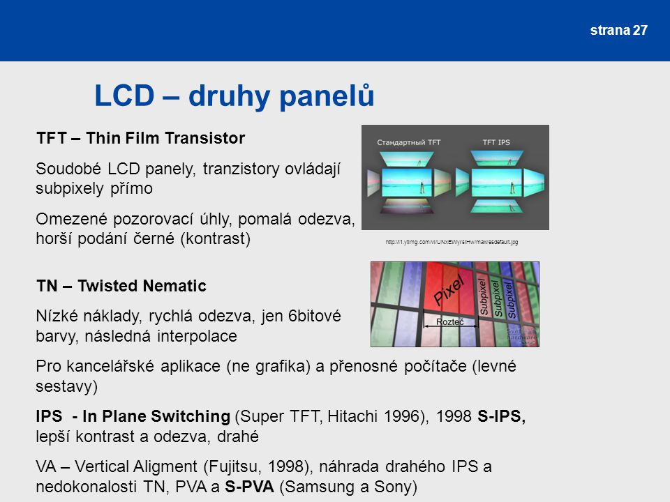 LCD – druhy panelů TFT – Thin Film Transistor