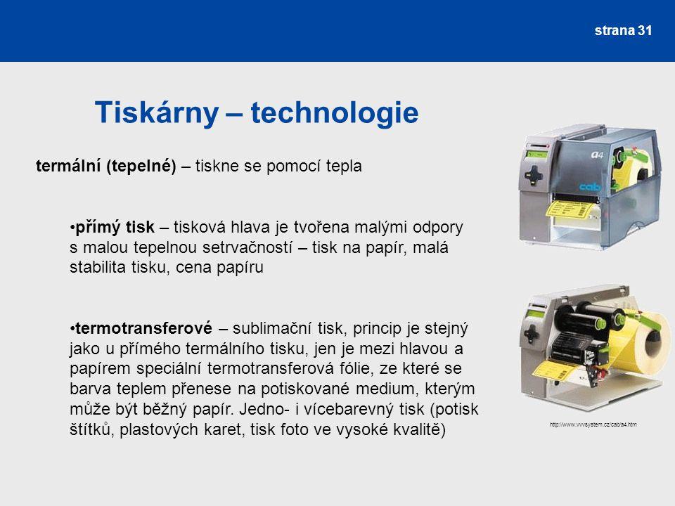 Tiskárny – technologie