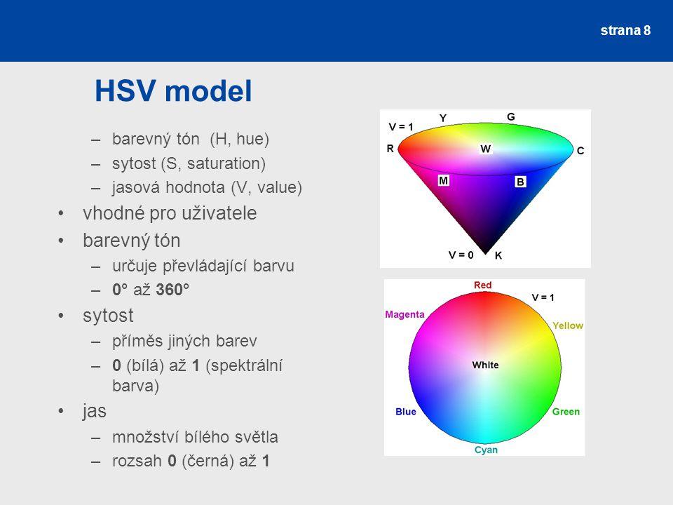 HSV model vhodné pro uživatele barevný tón sytost jas