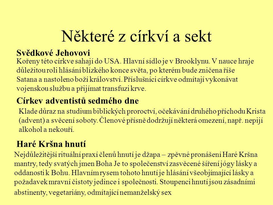 Některé z církví a sekt Svědkové Jehovovi