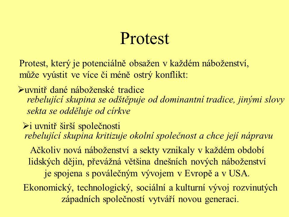 Protest Protest, který je potenciálně obsažen v každém náboženství, může vyústit ve více či méně ostrý konflikt: