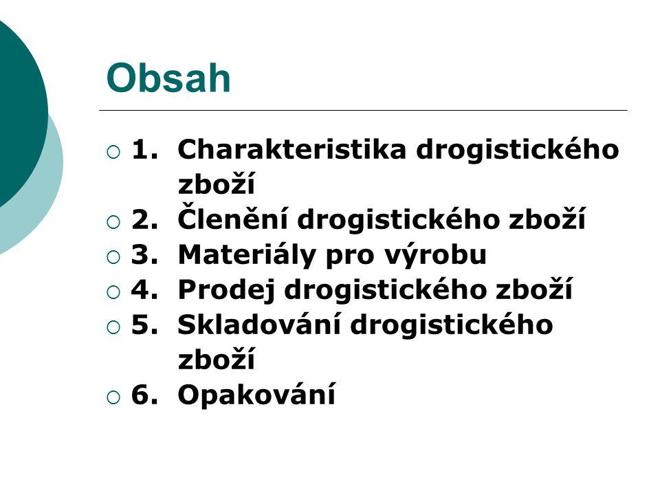 Obsah 1. Charakteristika drogistického zboží