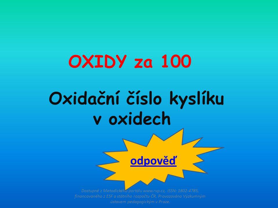 Oxidační číslo kyslíku v oxidech