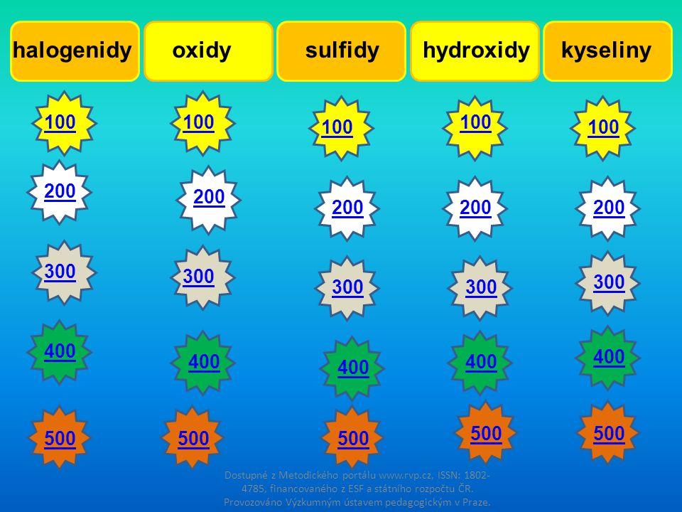 halogenidy oxidy sulfidy hydroxidy kyseliny 100 100 100 100 100 200