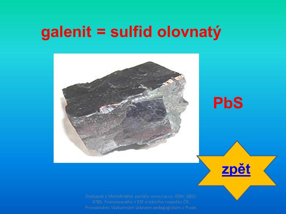 galenit = sulfid olovnatý