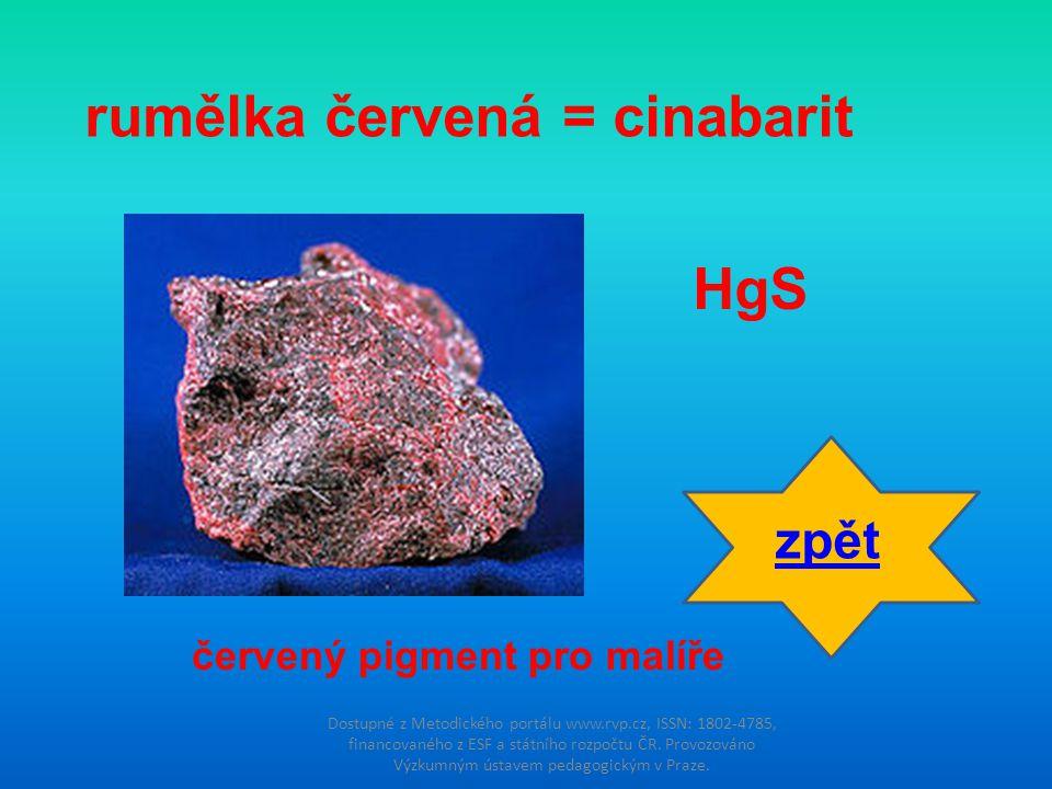 rumělka červená = cinabarit