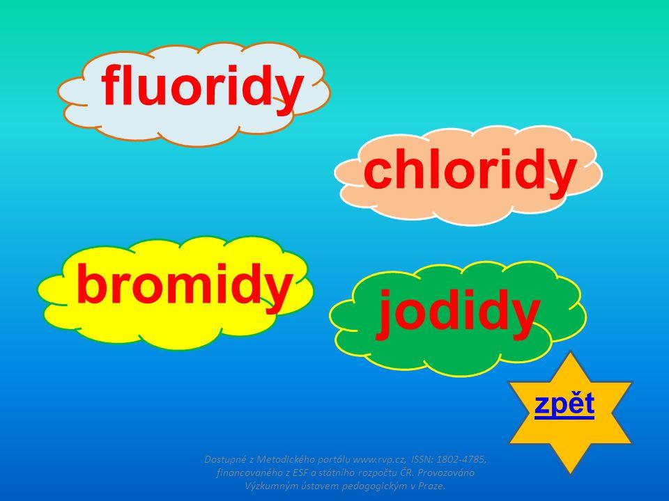 fluoridy chloridy bromidy jodidy zpět
