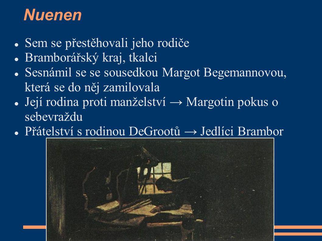 Nuenen Sem se přestěhovali jeho rodiče Bramborářský kraj, tkalci