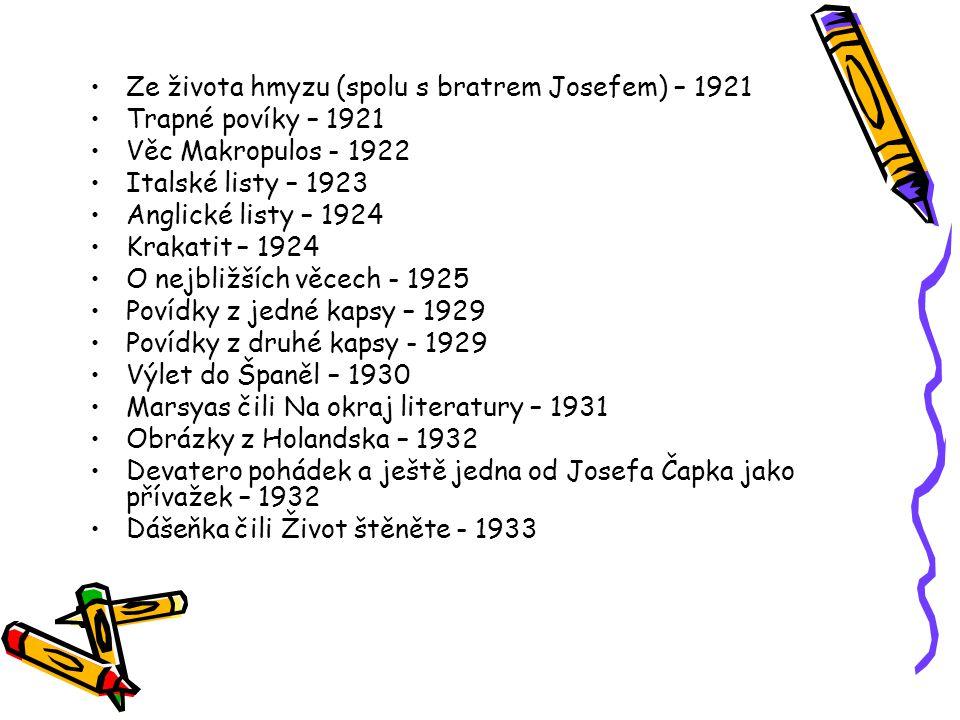 Ze života hmyzu (spolu s bratrem Josefem) – 1921