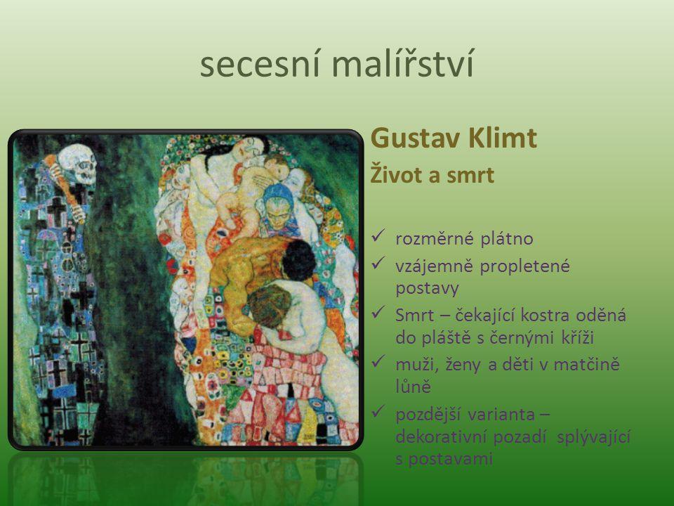 secesní malířství Gustav Klimt Život a smrt rozměrné plátno