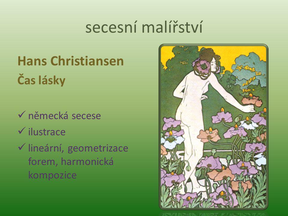 secesní malířství Hans Christiansen Čas lásky německá secese ilustrace