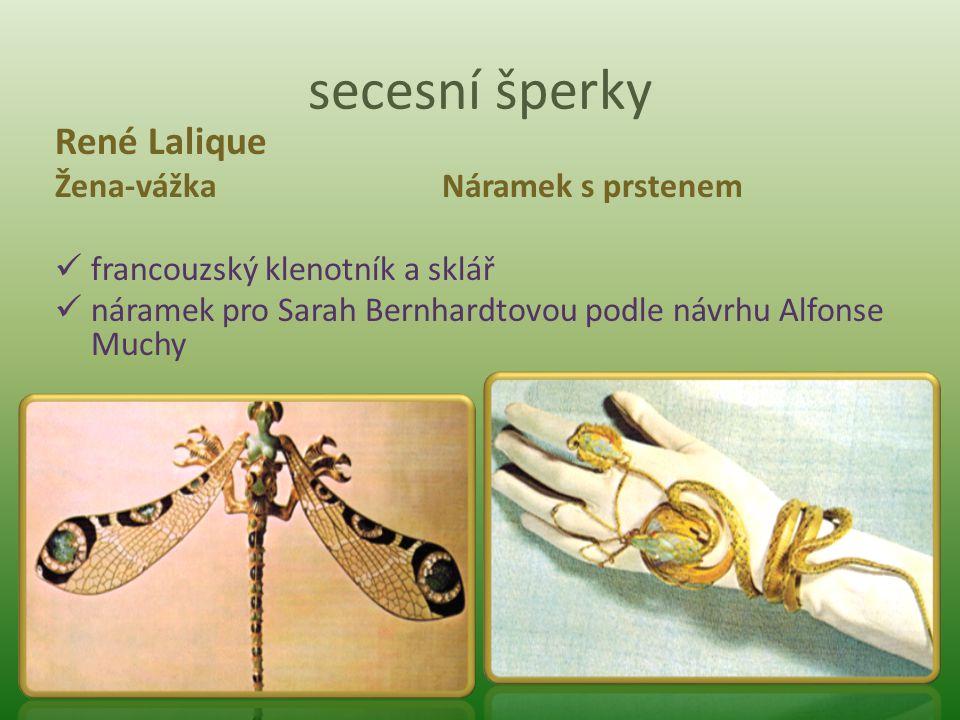 secesní šperky René Lalique Žena-vážka Náramek s prstenem