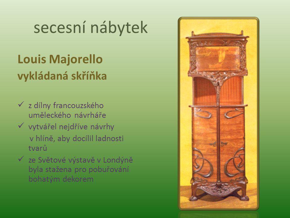 secesní nábytek Louis Majorello vykládaná skříňka