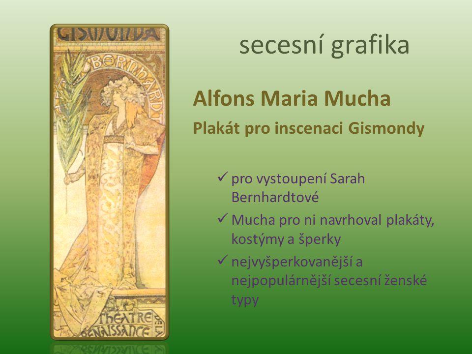 secesní grafika Alfons Maria Mucha Plakát pro inscenaci Gismondy