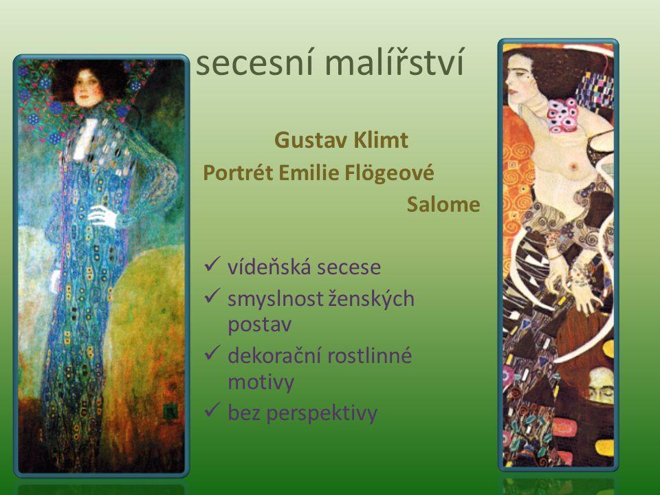 secesní malířství Gustav Klimt Portrét Emilie Flögeové Salome