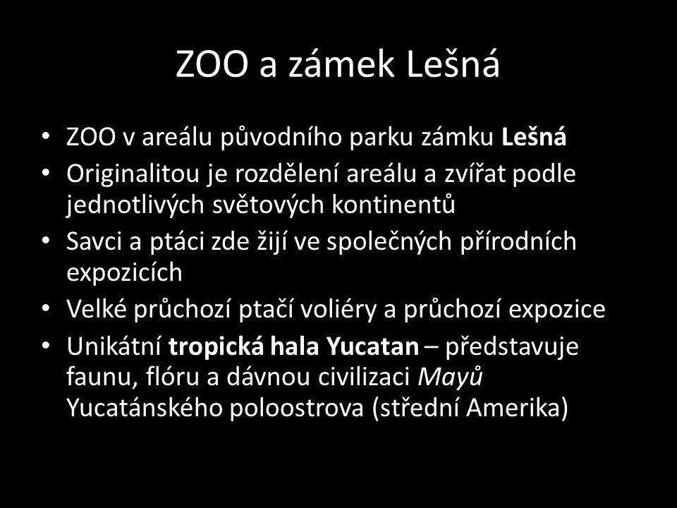 ZOO a zámek Lešná ZOO v areálu původního parku zámku Lešná