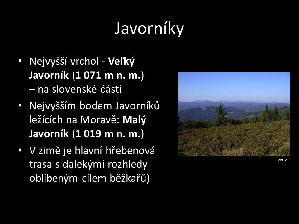 Javorníky Nejvyšší vrchol - Veľký Javorník (1 071 m n. m.) – na slovenské části.